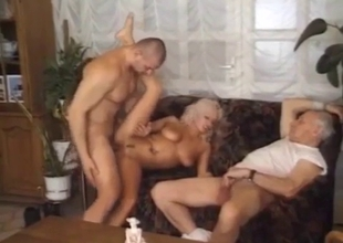 Bleached slut swallows tasty jizz of her brother