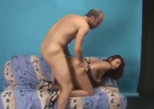 Daddy teaches his slutty sister in doggy style