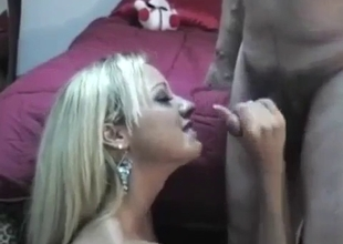 Bleached MILF sucks a dick of her bro with passion