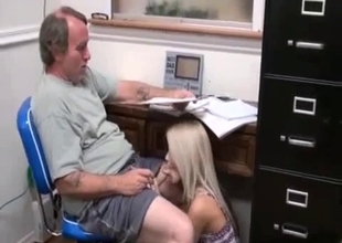 Amateur granddaughter sucks her grandpa dick