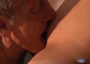 Slutty granddaughter gives a passionate blowjob